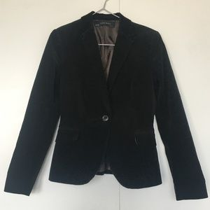 Zara Black Ribbed Velvet Blazer Size Small
